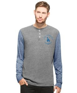 Los Angeles Dodgers Midfield Henley Mens Neps Grey 47 Brand