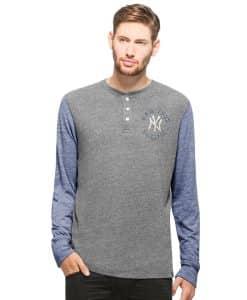 New York Yankees Midfield Henley Mens Neps Grey 47 Brand