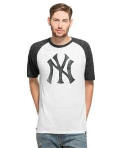 New York Yankees Mens White Wash 47 Brand Tri-State Raglan Shirt