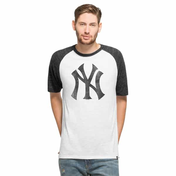 New York Yankees Mens White Wash 47 Brand Tri-State Raglan Shirt