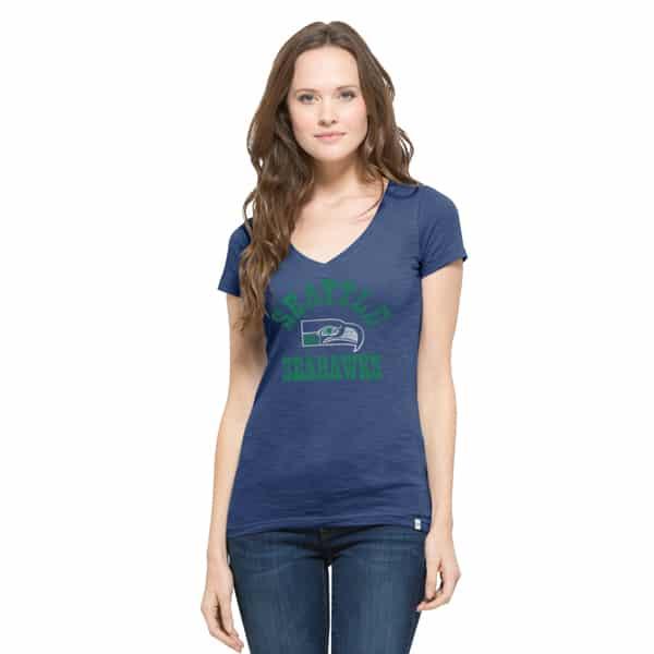 Seattle Seahawks Mvp V-Neck Shirt Scrum Womens Bleacher Blue 47 Brand