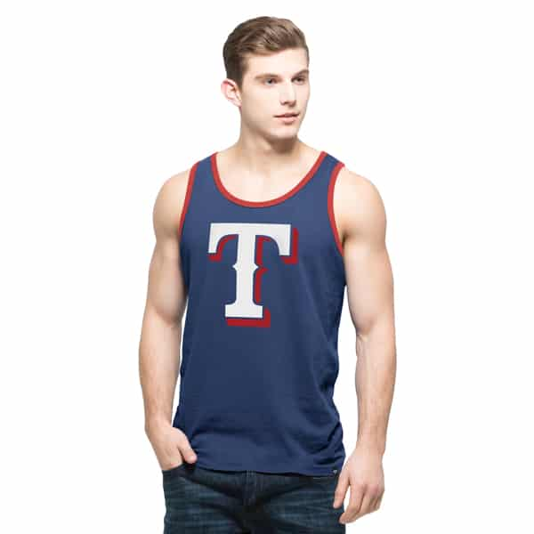 Texas Rangers Crosstown Tank Top Mens Bleacher Blue 47 Brand