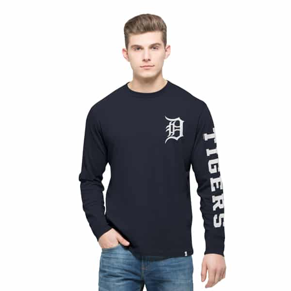 Detroit Tigers Rundown Long Sleeve T-Shirt Mens Fall Navy 47 Brand