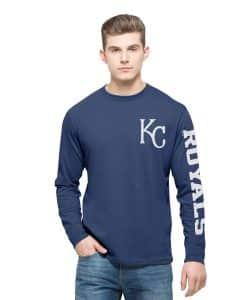 Kansas City Royals Rundown Long Sleeve T-Shirt Mens Bleacher Blue 47 Brand