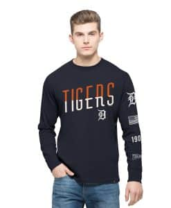Detroit Tigers Crosstown Team Long Sleeve Mens Fall Navy 47 Brand
