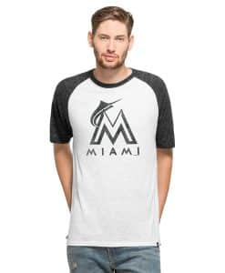Miami Marlins Tri-State Raglan Mens White Wash 47 Brand