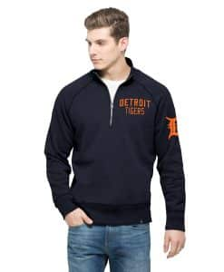 Detroit Tigers Gamebreak 1/4 Zip Mens Pullover Shirt Fall Navy 47 Brand