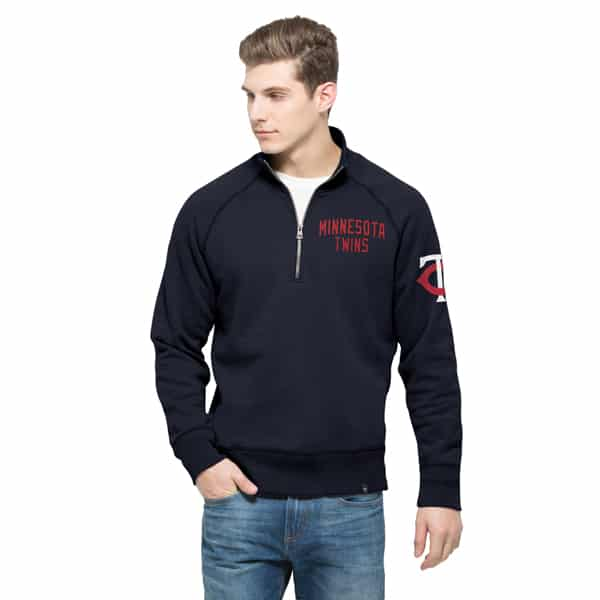 Minnesota Twins Gamebreak 1/4 Zip Mens Pullover Shirt Fall Navy 47 Brand