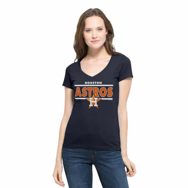 Houston Astros Clutch Flanker V-Neck Shirt Womens Fall Navy 47 Brand
