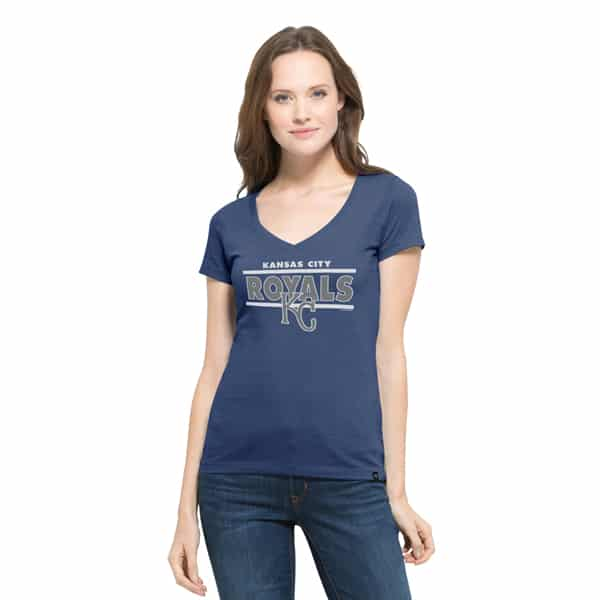Kansas City Royals Clutch Flanker V-Neck Shirt Womens Bleacher Blue 47 Brand