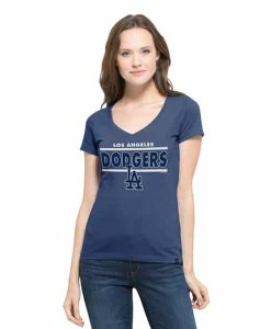 Los Angeles Dodgers Clutch Flanker V-Neck Shirt Womens Bleacher Blue 47 Brand