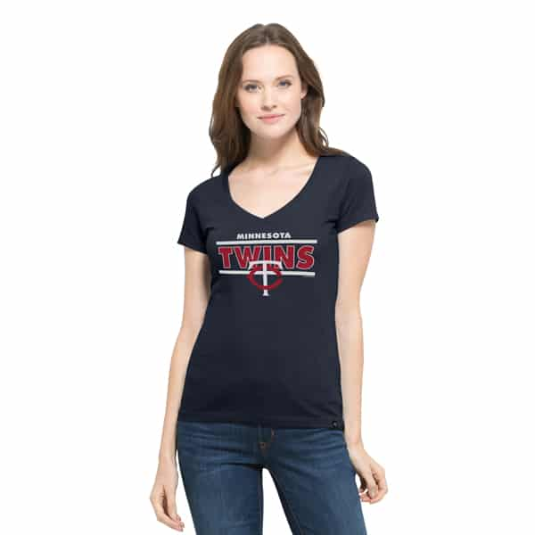 Minnesota Twins Clutch Flanker V-Neck Shirt Womens Fall Navy 47 Brand