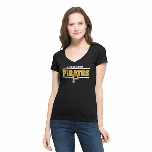 Pittsburgh Pirates Clutch Flanker V-Neck Shirt Womens Jet Black 47 Brand