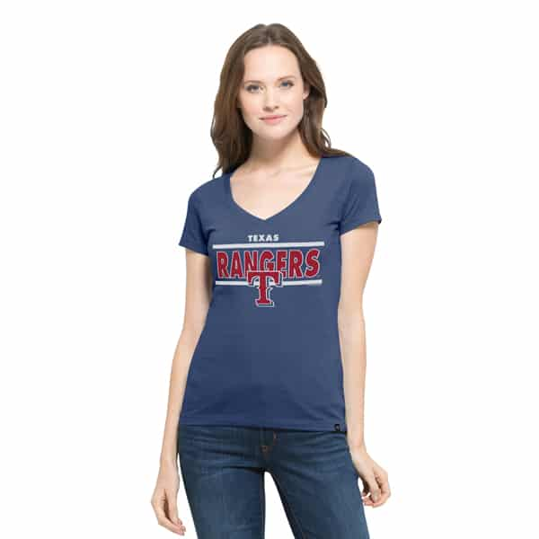 Texas Rangers Clutch Flanker V-Neck Shirt Womens Bleacher Blue 47 Brand