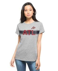 Atlanta Braves Super Hero T-Shirt Womens Vintage Grey 47 Brand