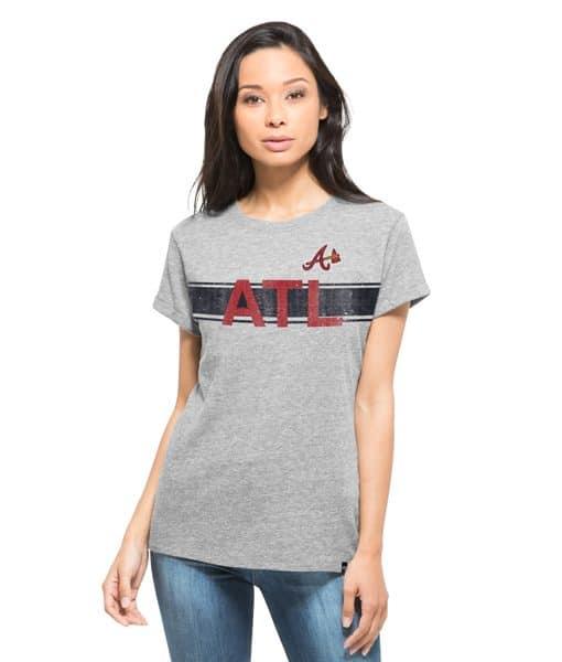 Atlanta Braves Super Hero T-Shirt Womens Vintage Grey 47 Brand