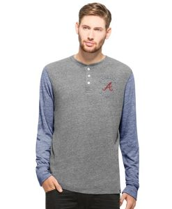 Atlanta Braves Midfield Henley Mens Neps Grey 47 Brand