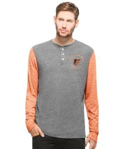 Baltimore Orioles Midfield Henley Mens Neps Grey 47 Brand