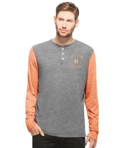 Houston Astros Midfield Henley Mens Neps Grey 47 Brand Long Sleeve Shirt