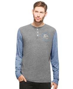 Kansas City Royals Midfield Henley Mens Neps Grey 47 Brand Long Sleeve Shirt