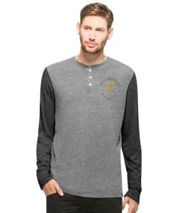 Pittsburgh Pirates Midfield Henley Mens Neps Grey 47 Brand