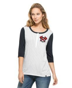 Atlanta Braves Triple Crown Henley Womens White Wash 47 Brand