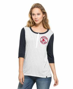 Boston Red Sox Triple Crown Henley Womens White Wash 47 Brand