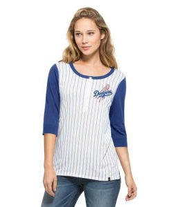 Los Angeles Dodgers Triple Crown Henley Womens White Wash 47 Brand