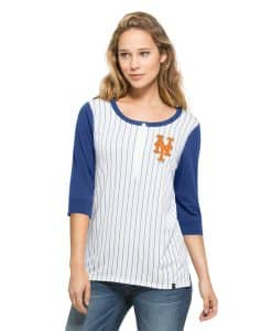 New York Mets Triple Crown Henley Womens White Wash 47 Brand