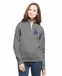 Los Angeles Dodgers Shimmer Cross-Check 1/4 Zip WoMens Pullover Shirt Wolf Grey 47 Brand