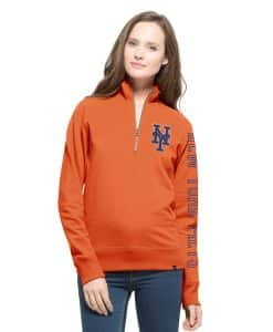 New York Mets Shimmer Cross-Check 1/4 Zip WoMens Pullover Shirt Carrot 47 Brand