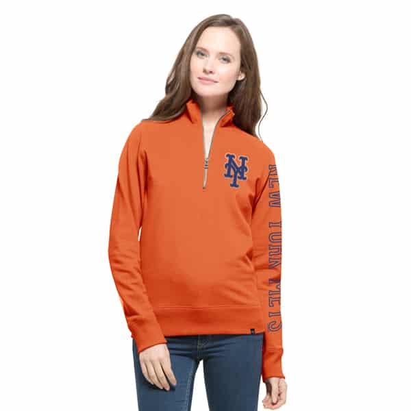 New York Mets Shimmer Cross-Check 1/4 Zip WoMens Pullover Shirt Carrot 47 Brand