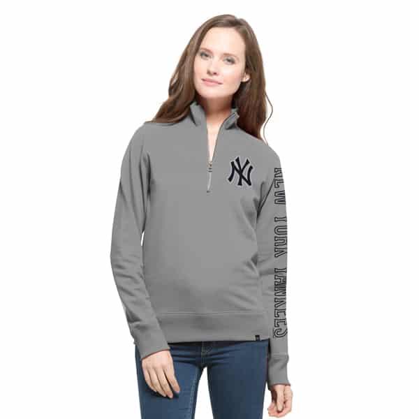 New York Yankees Shimmer 47 Brand Womens Grey Cross-Check 1/4 Zip Pullover Shirt