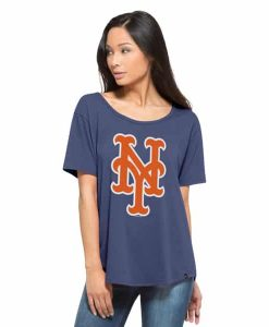 New York Mets Boyfriend T-Shirt Womens Bleacher Blue 47 Brand