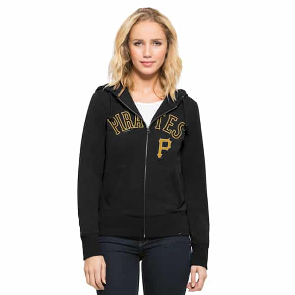 Pittsburgh Pirates Shimmer Cross-Check Full Zip Womens Hoodie Jet Black 47 Brand