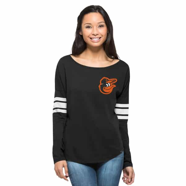 Baltimore Orioles Ultra Courtside T-Shirt Womens Jet Black 47 Brand