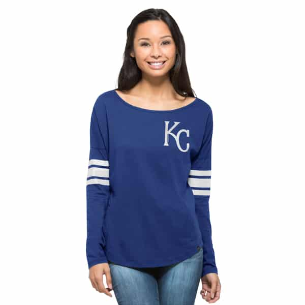 Kansas City Royals Ultra Courtside Womens Booster Blue 47 Brand Long Sleeve Shirt
