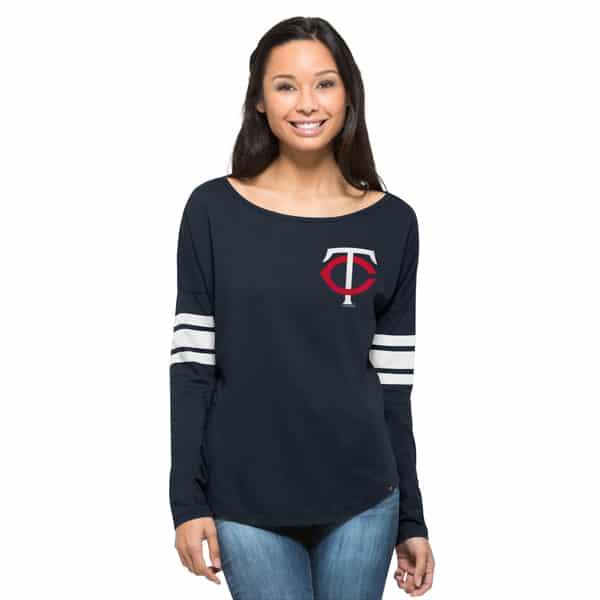 Minnesota Twins Ultra Courtside T-Shirt Womens Fall Navy 47 Brand