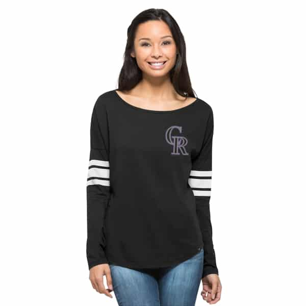 Colorado Rockies Ultra Courtside T-Shirt Womens Jet Black 47 Brand