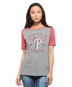 Philadelphia Phillies Empire T-Shirt Womens Vintage Grey 47 Brand