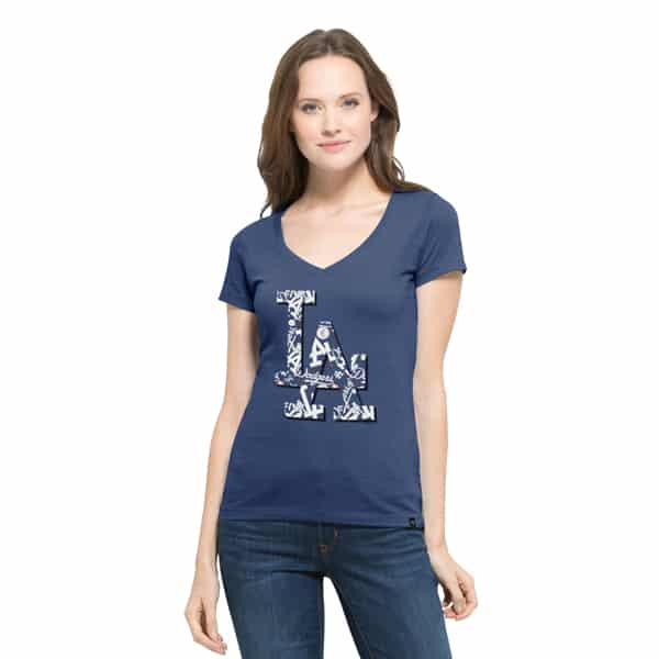 Los Angeles Dodgers Crosstown Flanker V-Neck Shirt Womens Bleacher Blue 47 Brand
