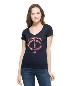 Minnesota Twins Crosstown Flanker V-Neck Shirt Womens Fall Navy 47 Brand