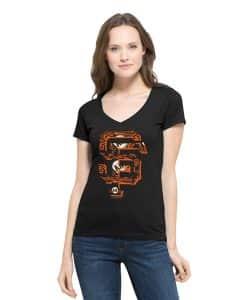 San Francisco Giants Crosstown Flanker V-Neck Shirt Womens Jet Black 47 Brand