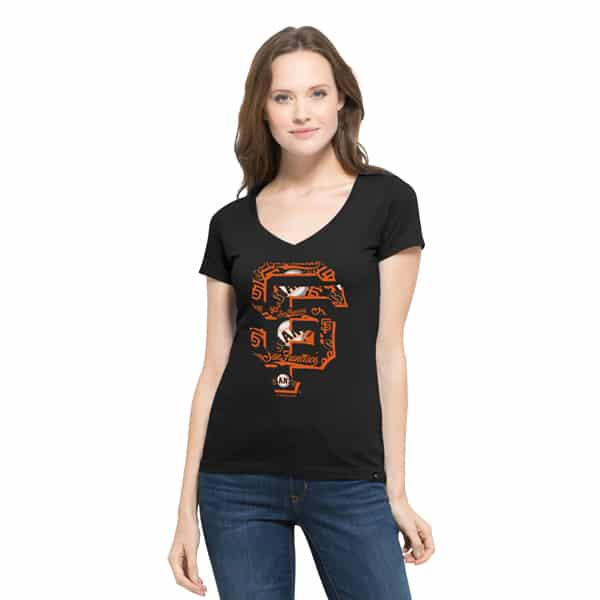 San Francisco Giants Crosstown Flanker V-Neck Shirt Womens Jet Black 47 Brand