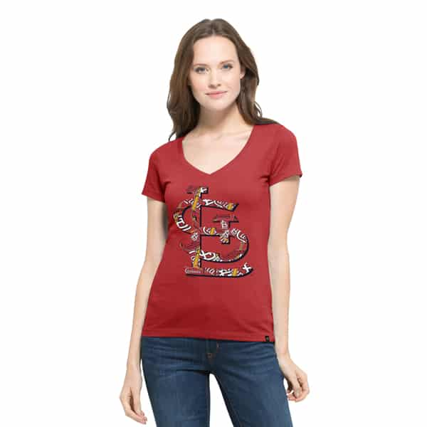 St. Louis Cardinals Crosstown Flanker V-Neck Shirt Womens Rescue Red 47 Brand