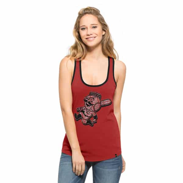 Cincinnati Reds Clutch Tank Top Womens Rescue Red 47 Brand