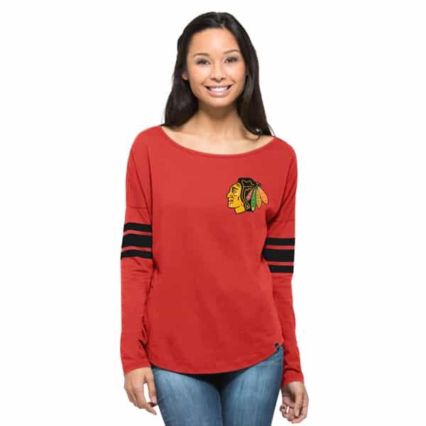 Chicago Blackhawks Ultra Courtside T-Shirt Womens Rebound Red 47 Brand