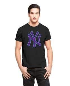 New York Yankees Frozen Rope T-Shirt Mens Slim Jet Black 47 Brand