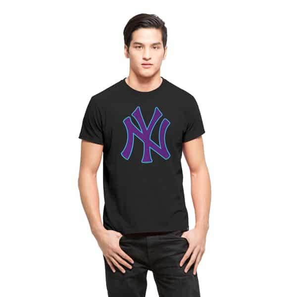 New York Yankees Frozen Rope T-Shirt Mens Slim Jet Black 47 Brand