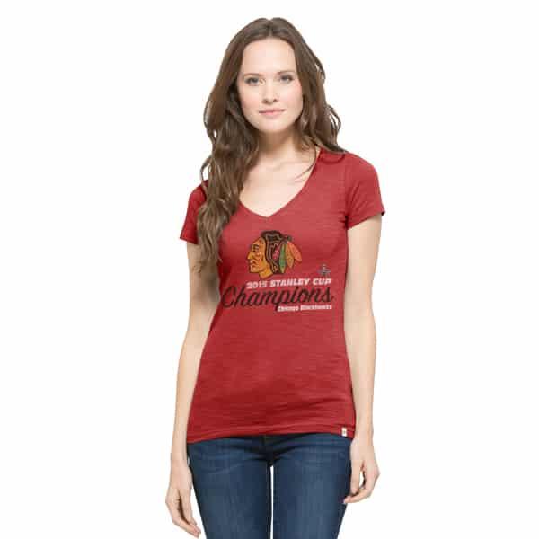 Chicago Blackhawks V-Neck Shirt Scrum T-Shirt Womens Rescue Red 47 Brand